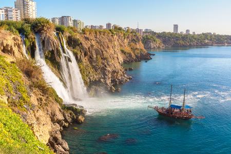 city park boat house: Duden waterfall in Antalya, Turkey in a beautiful summer day Stock Photo