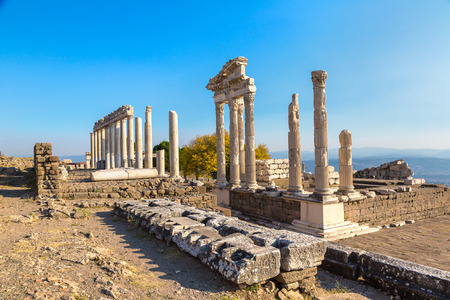 Temple of Trajan in ancient city Pergamon, Bergama, Turkey in a beautiful summer day Banco de Imagens