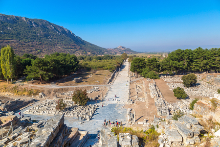 Ruins of the ancient city Ephesus, the ancient Greek city in Turkey, in a beautiful summer day Stock Photo