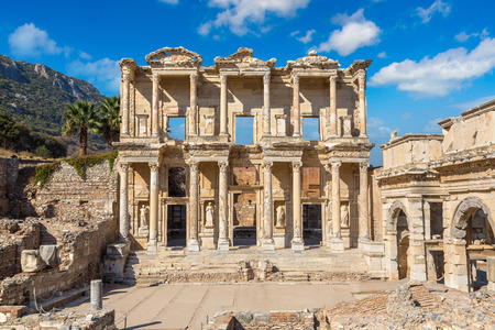 Ruins of Celsius Library in ancient city Ephesus, Turkey in a beautiful summer day