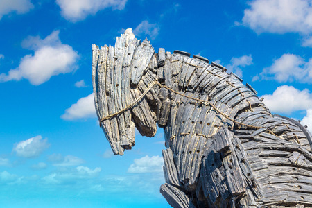 CANAKKALE, TURKEY - JULY 21, 2017: Trojan horse in Canakkale in a beautiful summer day, Turkey. This horse was uesd in movie Troy Editorial