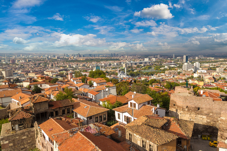 Panoramic aerial view of Ankara, Turkey in a beautiful summer day