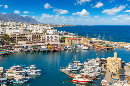 Panoramic aerial view of historic harbour in Kyrenia (Girne), North Cyprus in a beautiful summer day Фото со стока - 89556148