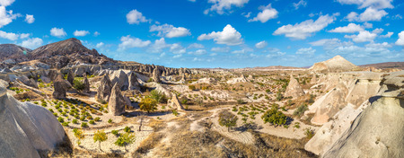 Volcanic rock formations landscape in Cappadocia, Turkey in a beautiful summer day Stock Photo