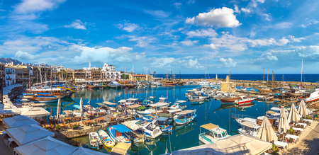 Panoramic aerial view of historic harbour in Kyrenia (Girne), North Cyprus in a beautiful summer day Фото со стока - 90256757