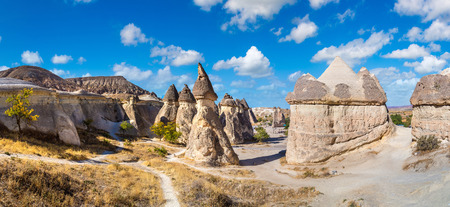 Volcanic rock formations landscape in Cappadocia, Turkey in a beautiful summer day Reklamní fotografie
