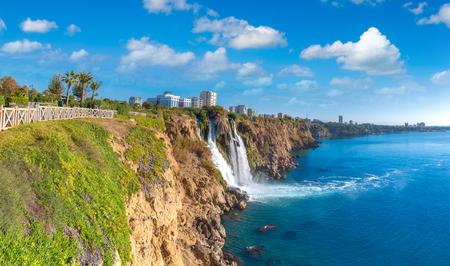 Duden waterfall in Antalya, Turkey in a beautiful summer day Editorial