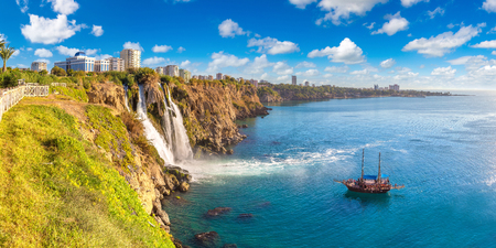 Duden waterfall in Antalya, Turkey in a beautiful summer day 스톡 콘텐츠