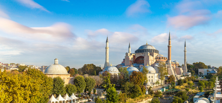 Panoramic aerial view of Hagia Sophia in Istanbul, Turkey in a beautiful summer day Фото со стока