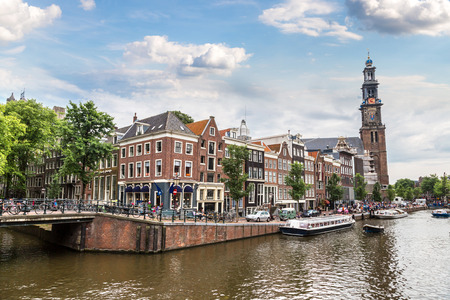 Westerkerk in Amsterdam. Netherlands in a summer day Editorial
