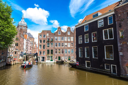 Canals of Amsterdam, Netherlands in a summer day Stock Photo