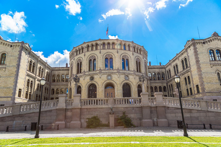 Oslo parliament  in Oslo in a summer day, Norway