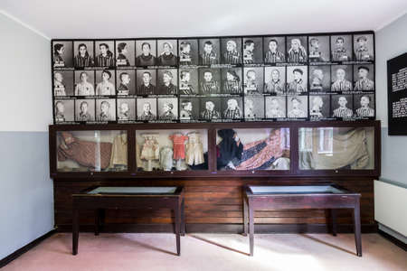 OSWIECIM, POLAND - JULY 22, 2014: Exhibition in Concentration camp in Auschwitz the biggest nazi concentration camp on July 22, 2014 in Oswiecim, Poland
