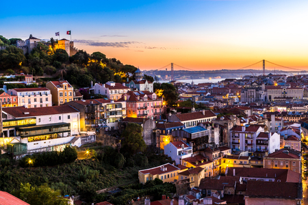 Aerial view of Lisbon at night, Portugal. Sao Jorge Castle