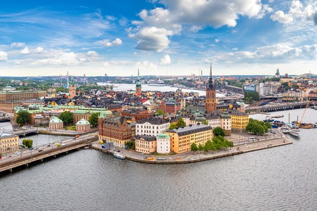 Panoramic view of Old Town (Gamla Stan) in Stockholm, Sweden in a summer day