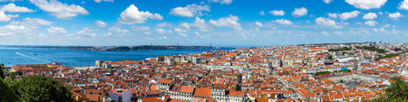 Panoramic aerial view of Lisbon, Portugal. Sao Jorge Castle in a summer day Stock Photo