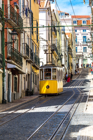 The Gloria Funicular in the city center of Lisbon , Portugal in a summer day