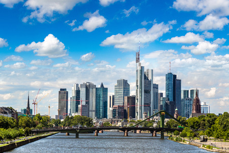 Summer view of the financial district in Frankfurt, Germany in a summer day