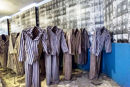 OSWIECIM, POLAND - JULY 22, 2014: Exhibition with prisoners clothes in Auschwitz.on July 22, 2014 in Oswiecim, Poland