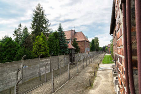 German concentration camp Auschwitz in Poland in summer day Editorial