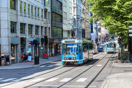 Modern tram in Oslo in Norway in a summer day Editorial