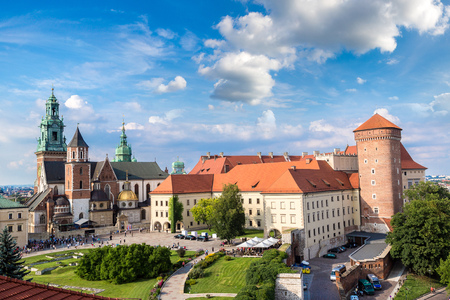 Wawel cathedral on Wawel Hill in Krakow, Poland in a summer day