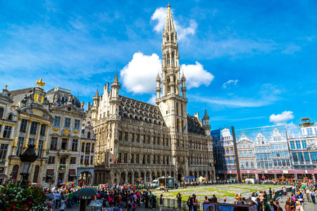 BRUSSELS, BELGIUM - JULY 6, 2014: The Grand Place in a beautiful summer day in Brussels, Belgium on July 6 2014 Editorial