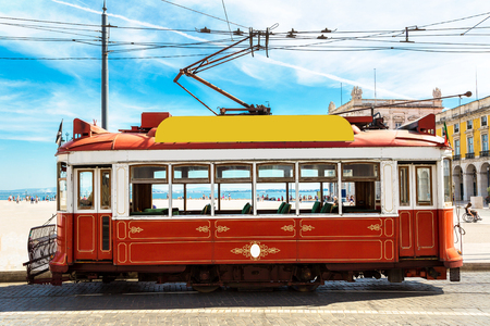 Vintage tram in Lisbon, Portugal in a summer day Stock Photo