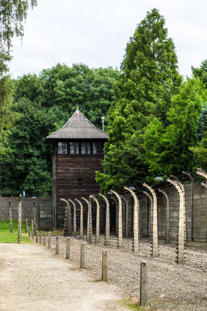 German concentration camp Auschwitz in Poland in summer day Stock Photo