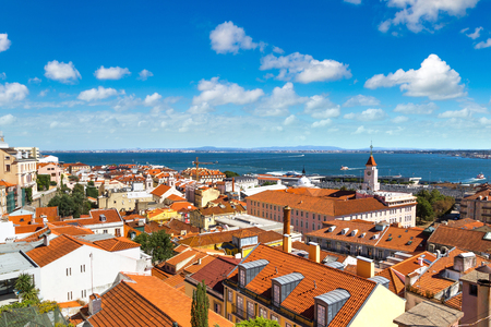 Aerial view of Lisbon, Portugal. Sao Jorge Castle in a summer day