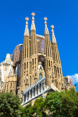 BARCELONA, SPAIN - JUNE 11, 2017: Sagrada Familia  in Barcelona in Spain in a summer day Editorial