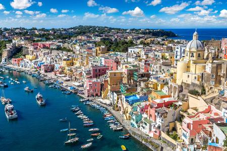 Procida island in a beautiful summer day in Italy