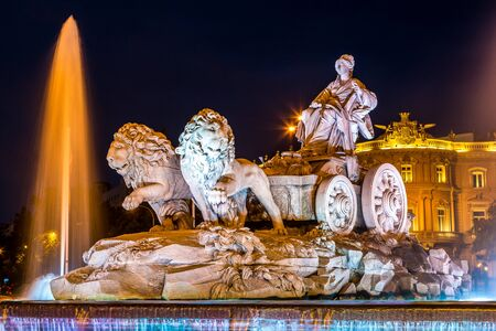 Cibeles fountain at Plaza de Cibeles in Madrid in a beautiful summer night, Spain Editorial
