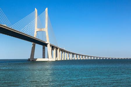 The Vasco da Gama Bridge in Lisbon, Portugal in a summer day