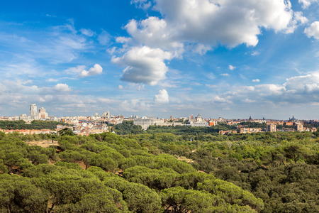 Skyline view of Almudena Cathedral and Royal Palace in Madrid, Spain 版權商用圖片 - 90232259