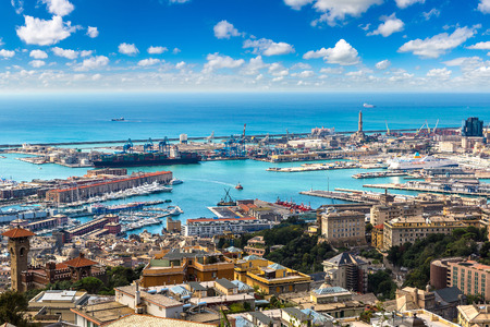 Panoramic view port of Genoa in a summer day, Italy Stock Photo - 89980495