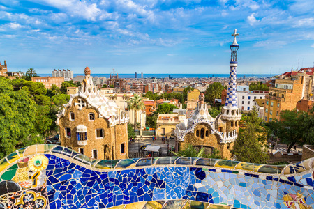 Park Guell by architect Gaudi in a summer day  in Barcelona, Spain. Editöryel