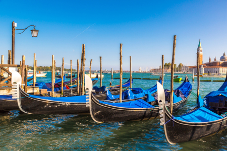 Gondolas  in a summer day in Venice, Italy