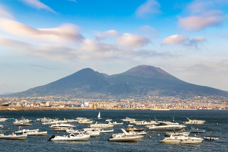 Mount Vesuvius in a summer day  in the gulf of Naples, Italy