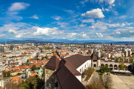 Aerial view over castle and Ljubljana in Slovenia in a summer day