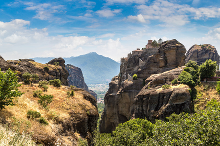 Monasteries on the top of rock in a beautiful summer day  in Meteora, Greece Reklamní fotografie