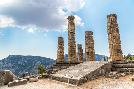The Temple of Apollo in Delphi, Greece in a summer day Banco de Imagens - 90277773