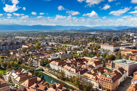 Aerial view of Ljubljana in Slovenia in a summer day