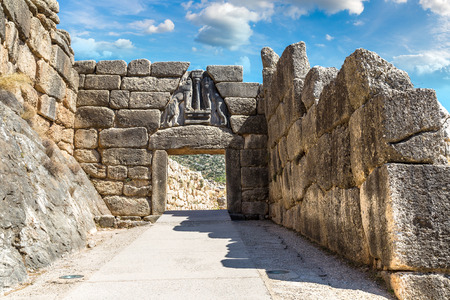 Lion Gate in Mycenae, Greece in a summer day