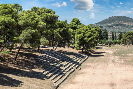 Ruins of olympic stadium in Epidavros, Greece in a summer day Stock Photo