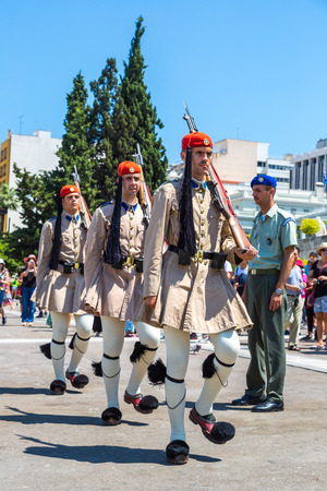 ATHENS, GREECE - JULY 19, 2017: Ceremonial changing guards in Athens, Greece in a summer day