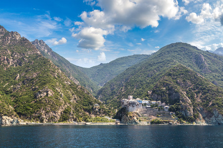 Dionisiou Monastery on Mount Athos in Greece in a summer day