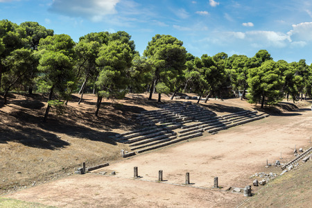 Ruins of olympic stadium in Epidavros, Greece in a summer day Reklamní fotografie