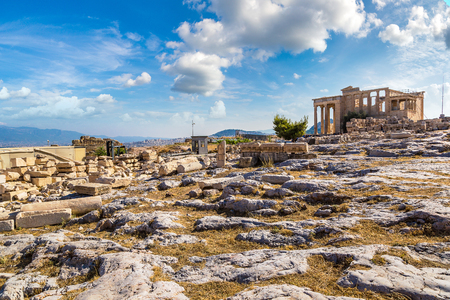 Erechtheum temple ruins on the Acropolis in a summer day in Athens, Greece