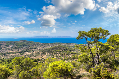 Panoramic landscape of Aegina island in a summer day in Greece